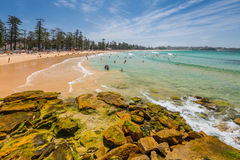 Manly beach on sunny day, Australia - Polarizing filter Royalty Free Stock Images