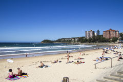 MANLY BEACH, SYDNEY,AUSTRALIA MARCH 13TH: People relaxing on the Stock Photo