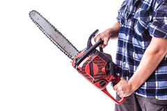 Manly chainsaw Royalty Free Stock Image