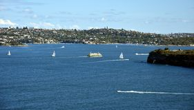 Manly ferry is turning into North Harbour to Manly stock photo