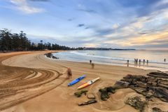 Manly Sand Beach Kayaks Lay Stock Photography
