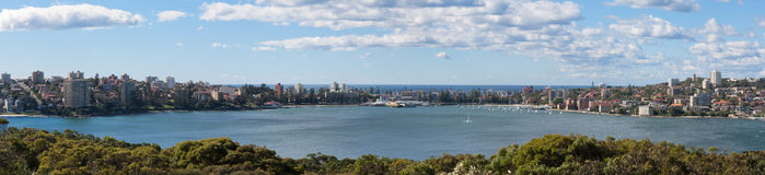 Manly Wharf Australia - Panoramic. A panoramic view of iconic Manly Wharf Australia. Manly is a popular tourist destination just 20 minutes from Sydney on the Royalty Free Stock Photography
