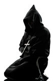 Manmönchpriester-Schattenbildbeten Lizenzfreie Stockfotos