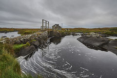 Manmade dam in a small river, ireland Royalty Free Stock Image