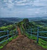 Manmade grid railing on an ancient fort of maharashtra royalty free stock photos