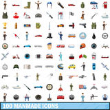 100 manmade icons set, cartoon style. 100 manmade icons set in cartoon style for any design vector illustration Stock Images
