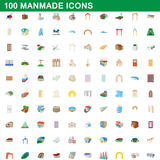 100 manmade icons set, cartoon style. 100 manmade icons set in cartoon style for any design vector illustration Royalty Free Stock Images