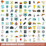 100 manmade icons set, flat style. 100 manmade icons set in flat style for any design vector illustration Royalty Free Stock Photos