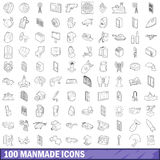 100 manmade icons set, outline style. 100 manmade icons set in outline style for any design vector illustration Royalty Free Stock Image