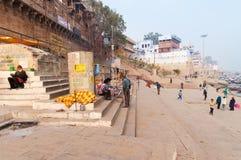 Manmandir Ghat em Varanasi no Ganges River Fotografia de Stock Royalty Free