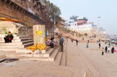 Manmandir Ghat  in Varanasi on the Ganges River Royalty Free Stock Photography