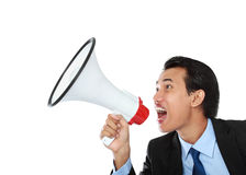 manmegafon som ropar genom att använda Royaltyfri Bild