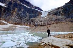 Mannökologe durch See mit Eisbergen Stockbilder