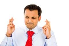 Mannüberfahrtfinger lizenzfreie stockfotos