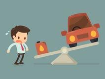Mann ängstlich vom Kraftstoffpreis Stockfoto