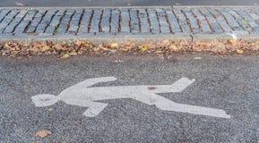 Mann-Überfahrt-Straßen-Symbol. Stockbild