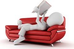 Mann 3d, der auf einer Couch, ein Buch lesend sitzt Lizenzfreies Stockbild