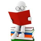 Mann 3d, der ein Buch liest Lizenzfreies Stockbild