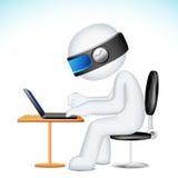 Mann 3d, der an Laptop im Vektor arbeitet Lizenzfreie Stockbilder