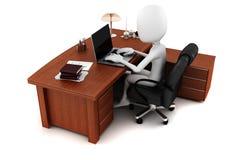 Mann 3d, der an seinem Schreibtisch arbeitet vektor abbildung