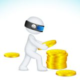 Mann 3d, der Stapel vom Dollar bildet Stockbild
