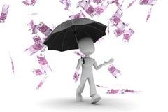 Mann 3d - gehend in Geldregen Stockbilder