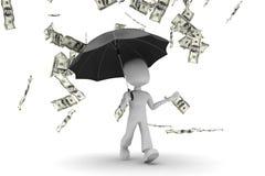 Mann 3d gehend in geldregen lizenzfreie stockfotografie