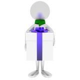 Mann 3D hält Geschenk getrennt auf Weiß an. Stockfoto