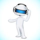 Mann 3d im Vektor im Kundenkontaktcenter Lizenzfreie Stockfotografie
