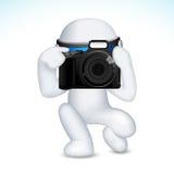 Mann 3d im Vektor mit Kamera Lizenzfreies Stockbild