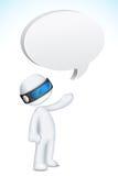 Mann 3d im Vektor mit Sprache-Luftblase Stockbild