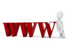 Mann 3d mit dem WWW-Symbol Stockfoto
