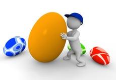 Mann 3d mit Eiern Stockbilder