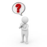 Mann 3d mit Fragezeichen in der Spracheluftblase Stockfotografie
