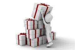 Mann 3d mit großen Geschenken Stockbilder