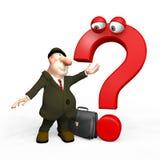 Mann 3D mit rotem Fragezeichen. Stockfoto