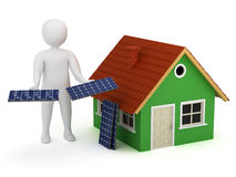 Mann 3d mit Sonnenkollektoren Lizenzfreies Stockbild