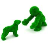 Mann 3D und Hund getrennt auf Weiß. Lizenzfreie Stockfotos