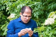 Mann allergisch zum Blütenstaub stockfotografie