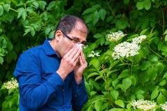 Mann allergisch zum Blütenstaub stockbild