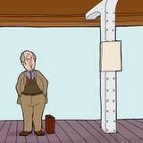 Mann auf Bahnstations-Plattform Stockbild