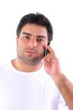 Mann auf dem Mobile Lizenzfreie Stockfotografie