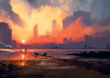 Mann auf dem Seestrand, der Wolkenkratzer bei Sonnenuntergang betrachtet vektor abbildung