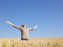 Mann auf dem Weizen-Gebiet mit den Armen ausgestreckt Lizenzfreie Stockfotos