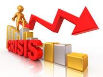 Mann auf Diagramm. Krise Lizenzfreies Stockfoto