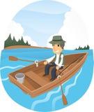 Mann auf einem Fischerboot