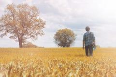 Mann auf einem Gebiet im Herbst Lizenzfreie Stockbilder