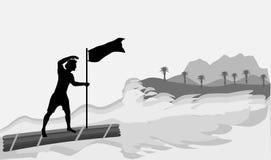 Mann auf einem hölzernen Floss, das der Insel sich nähert stock abbildung