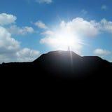 Mann auf einem Hügel Stockfotos