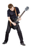 Mann auf einem weißen Hintergrund Ausführender mit einer elektrischen Gitarre lizenzfreies stockbild